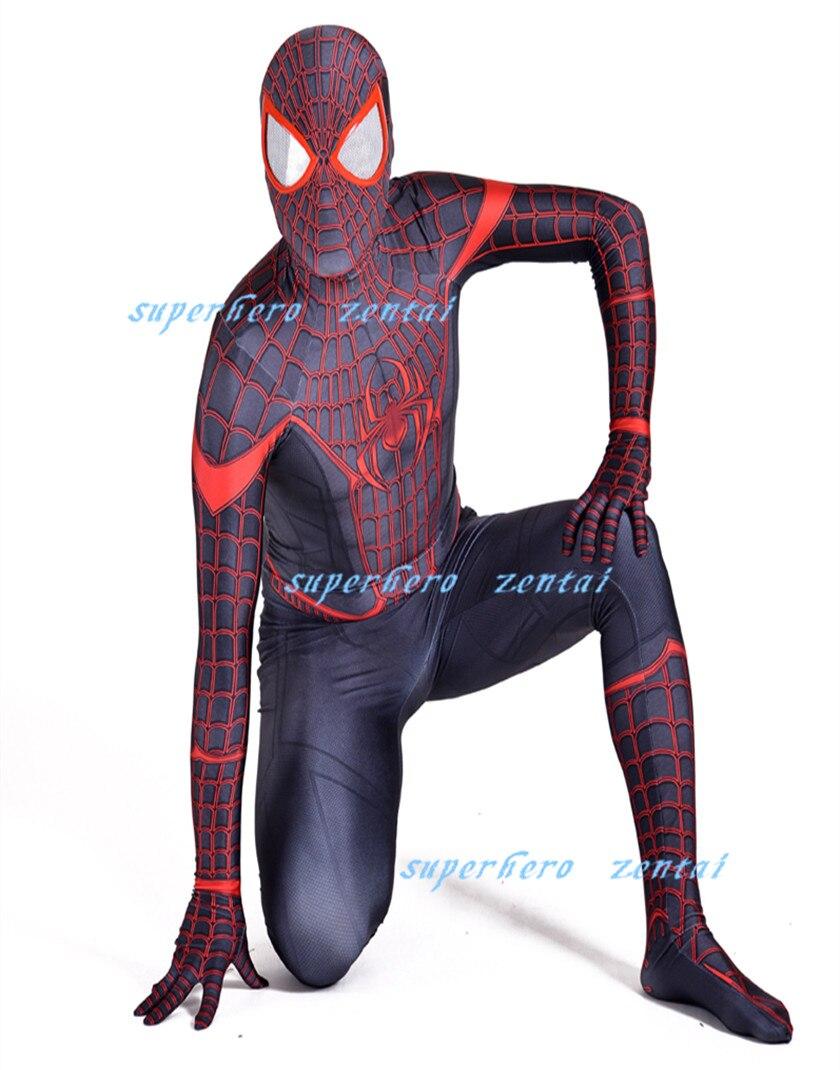 Stunning Miles Morales Spiderman Costume 3D Print Halloween Superhero Cosplay Zentai Bodysuit Adult/Kids/Custom Free Shipping