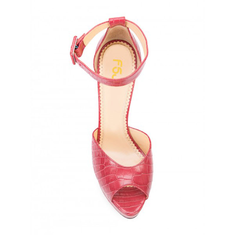 Femmes La Fsj Sandales Chaussures Bloc Bride Sexy Alligator Rouge Anniversaire Grain Peep Fsj01 Généreux Attrayant Cheville Incomparable Toe Talons À qRZggpE