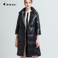 Gours Genuine Leather Duck Down Coats for Women Black Sheepskin Jackets Overcoats Warm In Winter Long Parka New Arrival 1626