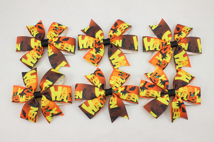 Wholesale Ribbon Halloween Baby Hair Bows With Clips