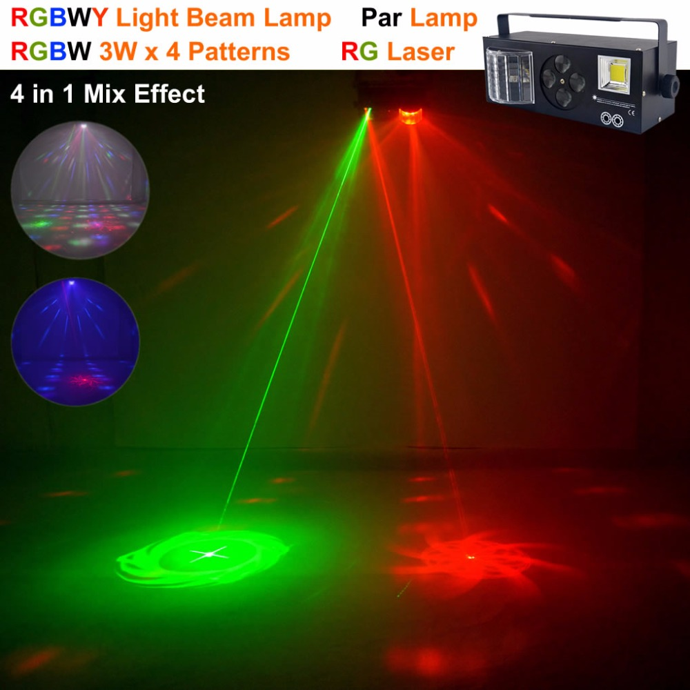 AUCD 4 In 1 RG Laser Gobos Mixed Strobe Par Lamp RGBWY Beam LED DMX Light DJ Party Show Home Holiday Xmas Stage Lighting aucd 2 lens red blue rb beam pattern laser light dmx 7ch pro dj party club bar ktv holiday wedding stage lighting dj 506rgb
