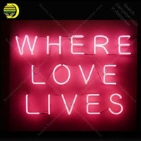 Neon Sign Where Love Lives Neon Signs Real Glass Tube BoardNeon Bulb Signboard decorate home Bedroom Handcraft sign Light up