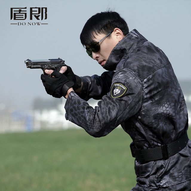 a01089d10750e Uniforme Militar negro halcón Python Uniforme Militar táctico combate  chaqueta Cargo pantalones traje CS Fardas Militar