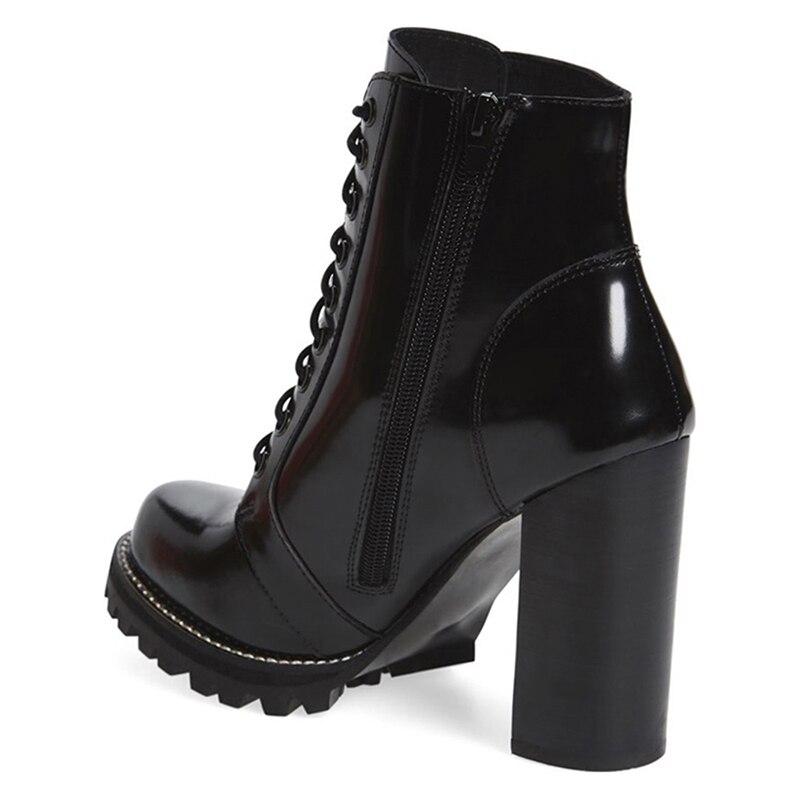 tied Hiver Fsj Bottes Cuir Femmes Mujer Carré En Hauts Super Croix Verni Moto Zapatos Chaussures Solide Cheville Mode Talons Fsj01 QdxoeCBrW