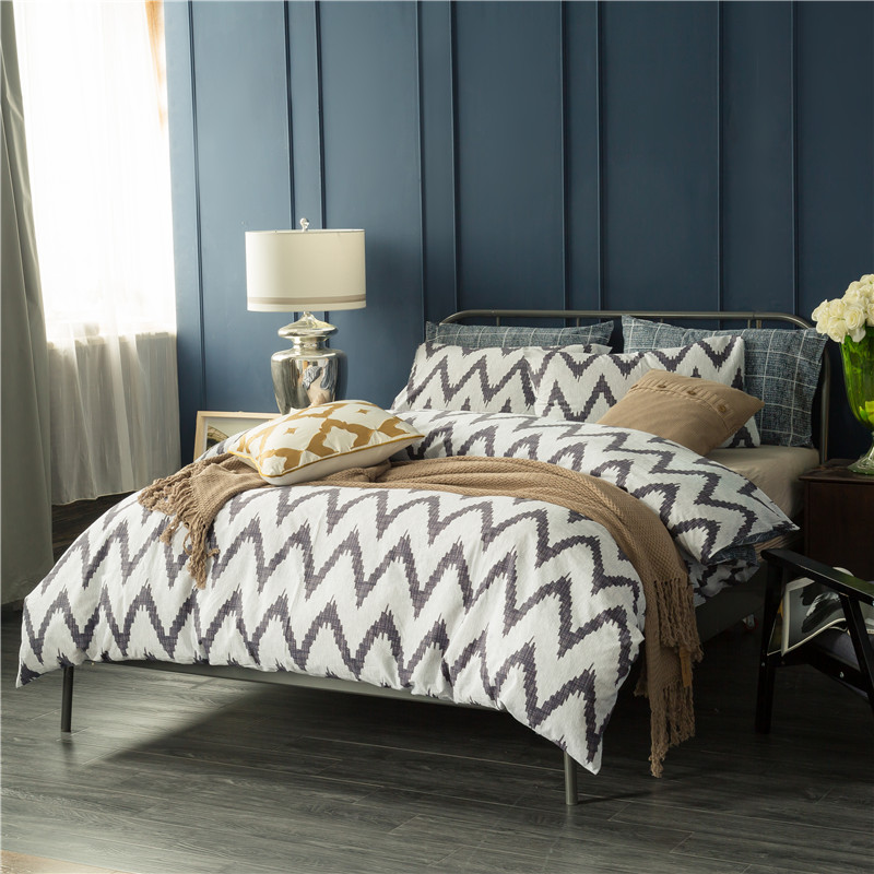 modern chic design blue pink white gray plaid and striped bedding set queen king size washed - Plaid Comforter