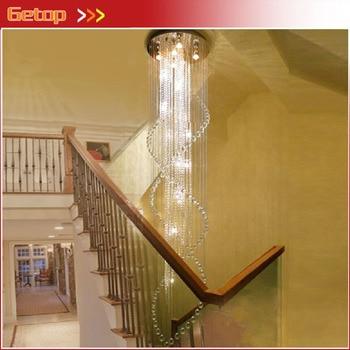 Лучшая цена Двусторонняя лестница K9 Хрустальная люстра вилла роскошный отель ступенчатая Подвеска светильник светодиодный спираль длинны...