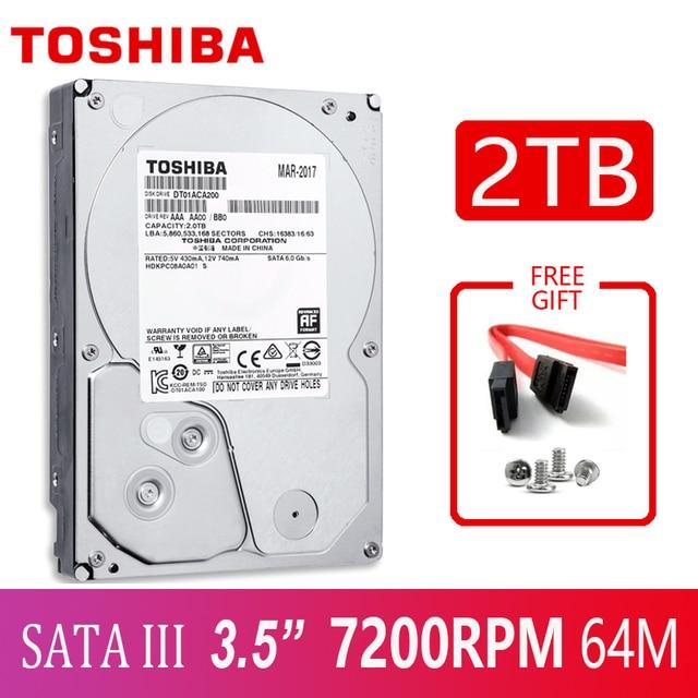 "TOSHIBA 2TB ฮาร์ดดิสก์ไดรฟ์ 2TB ฮาร์ดดิสก์ภายใน 2000GB HD 7200RPM 64M SATA3 3.5 ""สำหรับเดสก์ท็อปคอมพิวเตอร์ PC"