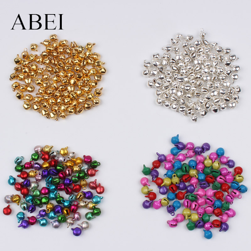 200pcs/lot 6mm Mini Gold Silver Multicolor Bell Christmas Jingle Bells Loose Beads DIY Handmade Bell Crafts Accessories