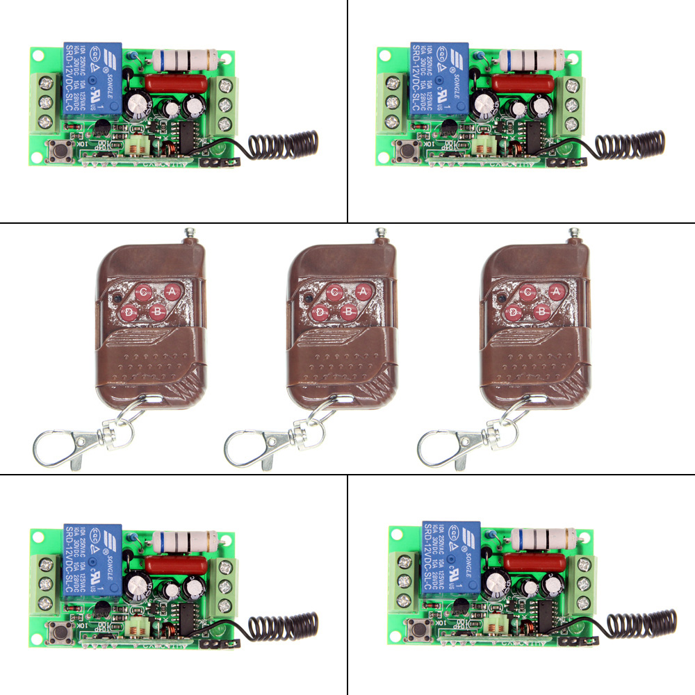 AC 220V 110V 1 CH 1CH RF Wireless Remote Control Switch System,3X 4CH Peach Transmitter + Receiver,Toggle/Momentary,315/433.92