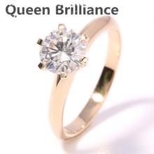Queen Brilliance 2 Carat ct F Color Engagement Wedding Lab Grown Moissanite Diamond Ring Solid 14K 585 Yellow Gold Women Rings