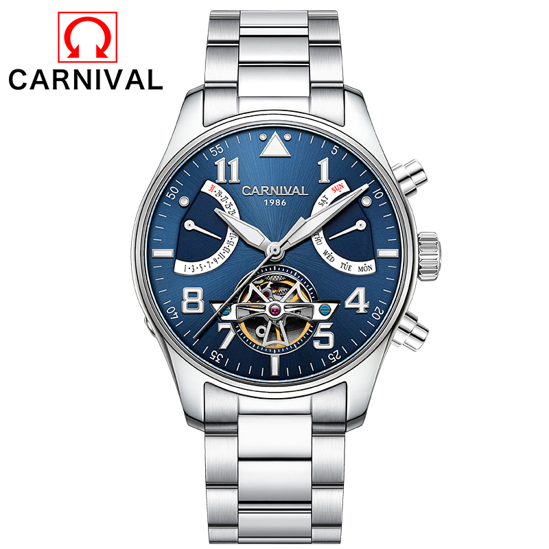2017 Top Brand CARNIVAL Multifunction Tourbillon Automatic Mechanical Watch Luxury Brand Mens Watch 5 Hands Date Reloj Hombre compatible canon imagerunner 1018 1019 1022 1023 1023n 1023if 1024a 1024f 1024i 1024if 1025 n1025 if1025 black image drum unit