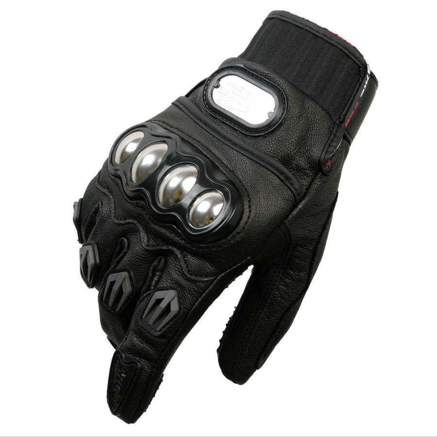 Buy leather bike gloves - Pro Biker Motorcycle Gloves Full Finger Racing Motocross Gards Motorbike Protective Gear Motor Gloves Real Leather