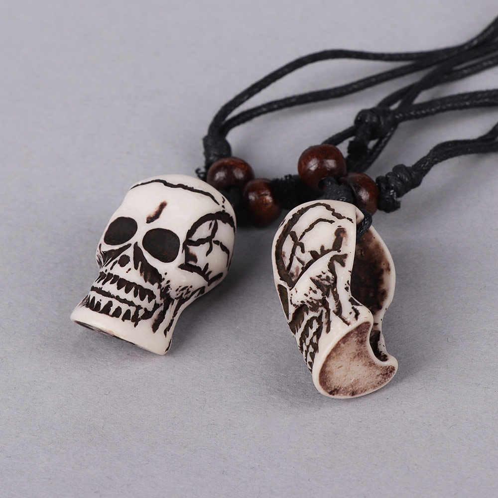 Tribal Giả Yak Xương Trắng Nâu Khắc Skull Head Charms Halloween Skeleton Mặt Dây Chuyền Vòng Cổ Bùa Mặt Dây Chuyền Quà Tặng Adjustab