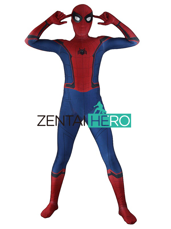 ZentaiHero 2017 Spider-Man Homecoming Costume Movie TRAILER VERSION New Spiderman Costume Zentai Suit 3D Shade Spidey Cosplay