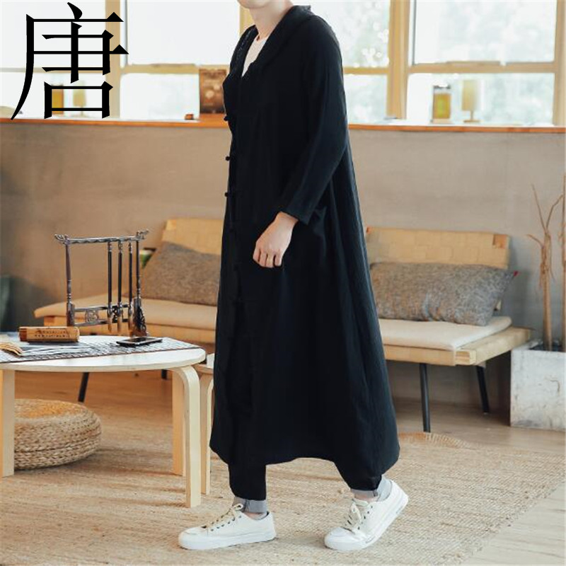 2019 New brand 100%Pure cotton Men Long Casual Hooded   Trench   Coat Spring Autumn Male Loose Hoody Cardigan Jacket Outerwearcoat