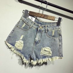 Bf summer women shorts wind female blue high waist denim shorts women worn loose burr hole.jpg 250x250