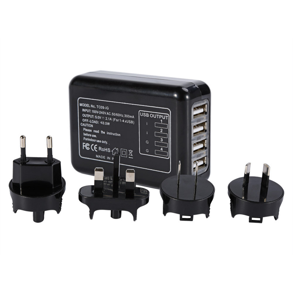 4 Plugs 4 Port USB Hub AC Adapter US / EU / UK / AU Plug Adapter Converter Wall Charger For iPhone 5/6/7 iPad for Samsung