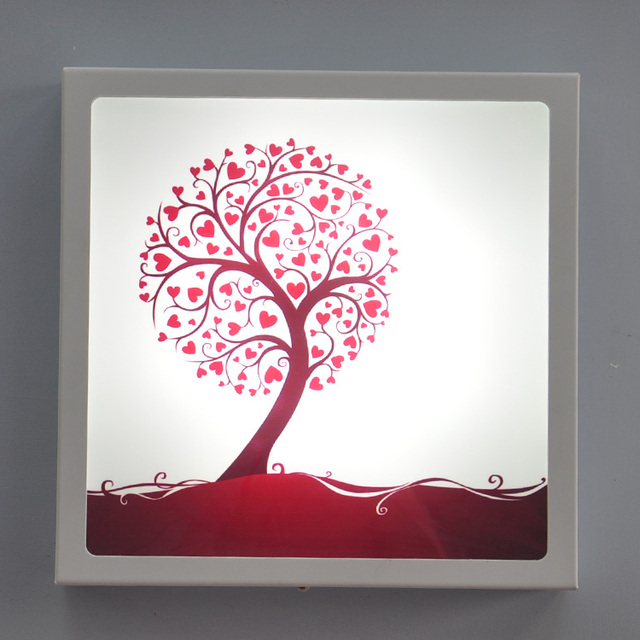 Modern brief Decorative Painting Wall Lamp Heart Tree 12w Art Sconce ...