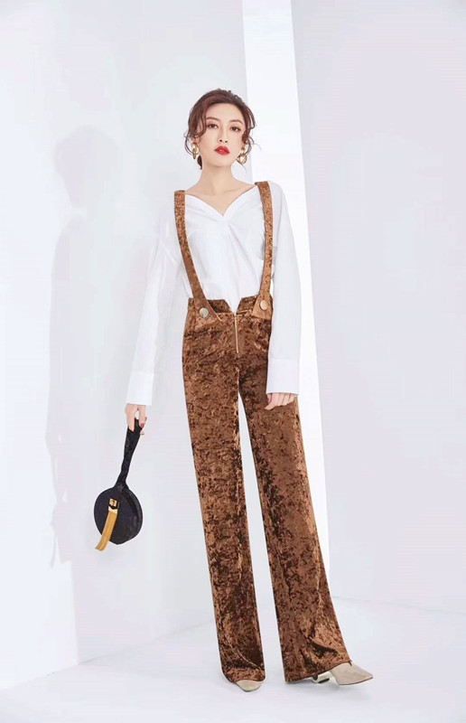 Fashion high waist one piece wide leg pants female 2018 spring gold velvet suspenders pants