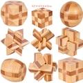 1 Шт./компл. 9 Стили Бамбука Развивающие Игрушки Мин Lock 3D Ручной Деревянные Игрушки Взрослых Головоломки Логические Игры для Раннего образование