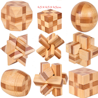 1Pcs Set 9 Styles Bamboo Educational Toys Ming Lock 3D Handmade Wooden Toy Adults Puzzle Brain