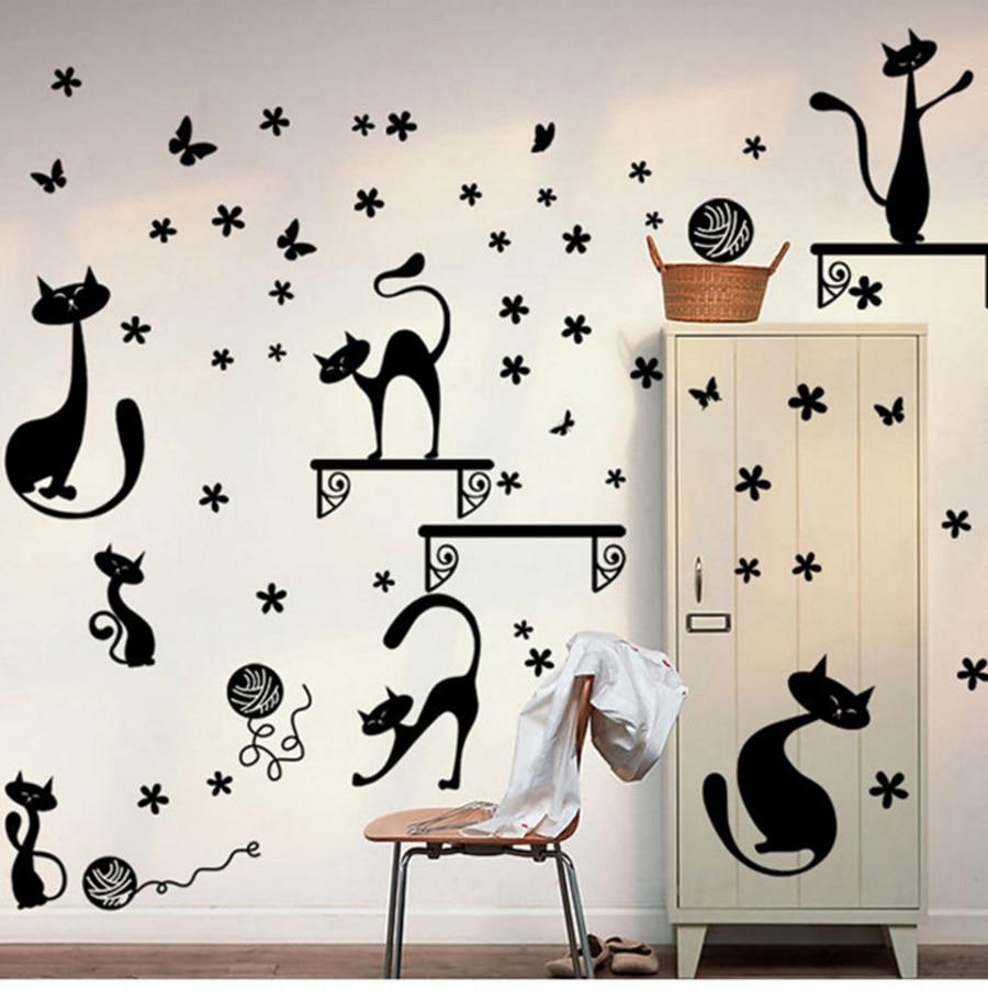 New Lovely Cartoon Black Cats Wall Sticker Kids Rooms Decorative