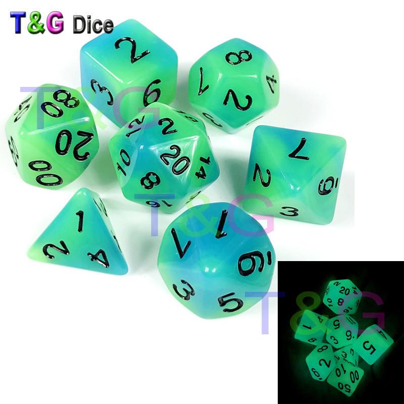 Dice 7 Pc/Set Glowing in The Dark dice D4 D6 D8 D10 D10% D12 D20 for Dungeons and Dragons RPG,Board Game
