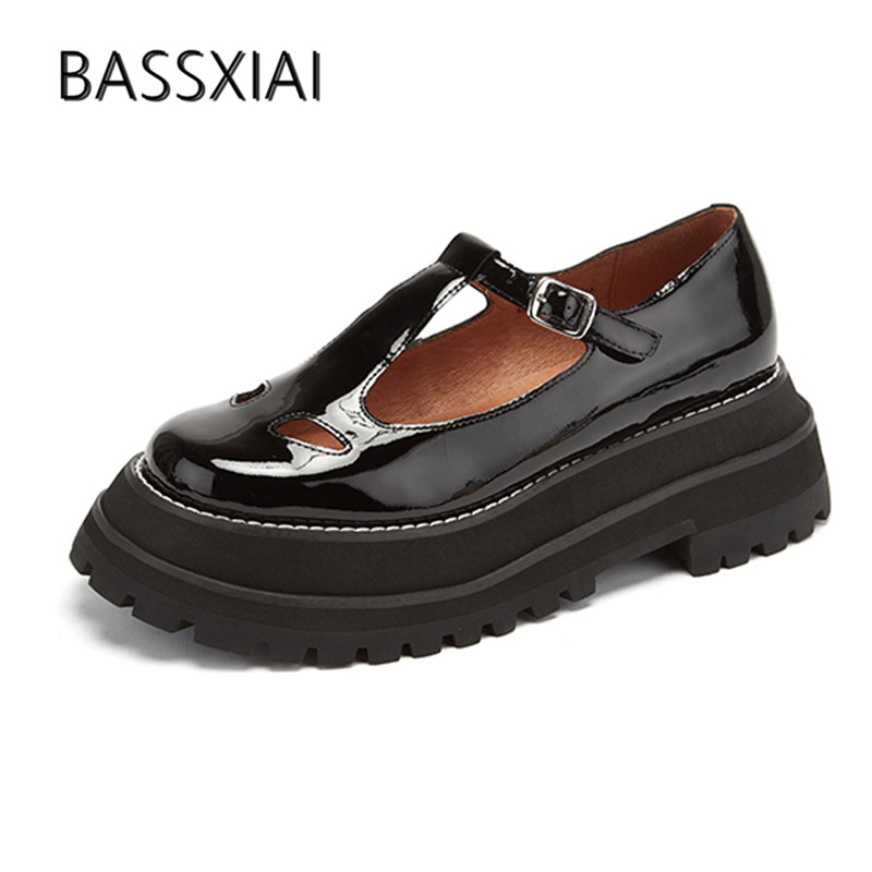 2019 Black Real Leather Loafer Shoes Women Round Toe T strap Thick Bottom Single Shoes Woman