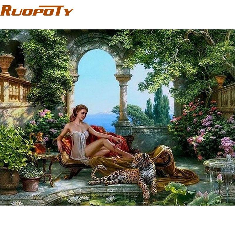 RUOPOTY Telaio Fiaba Donne Sexy DIY Pittura By Numbers Wall Art Immagine Tela Pittura Per La Decorazione Soggiorno 40x50 cm