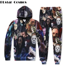 PLstar Cosmos Men/Women Hoodies Horror Movie Killers/Halloween Devil/Shark/Zombie 3D Print Hip Hop hoodie+Joggers pants Set
