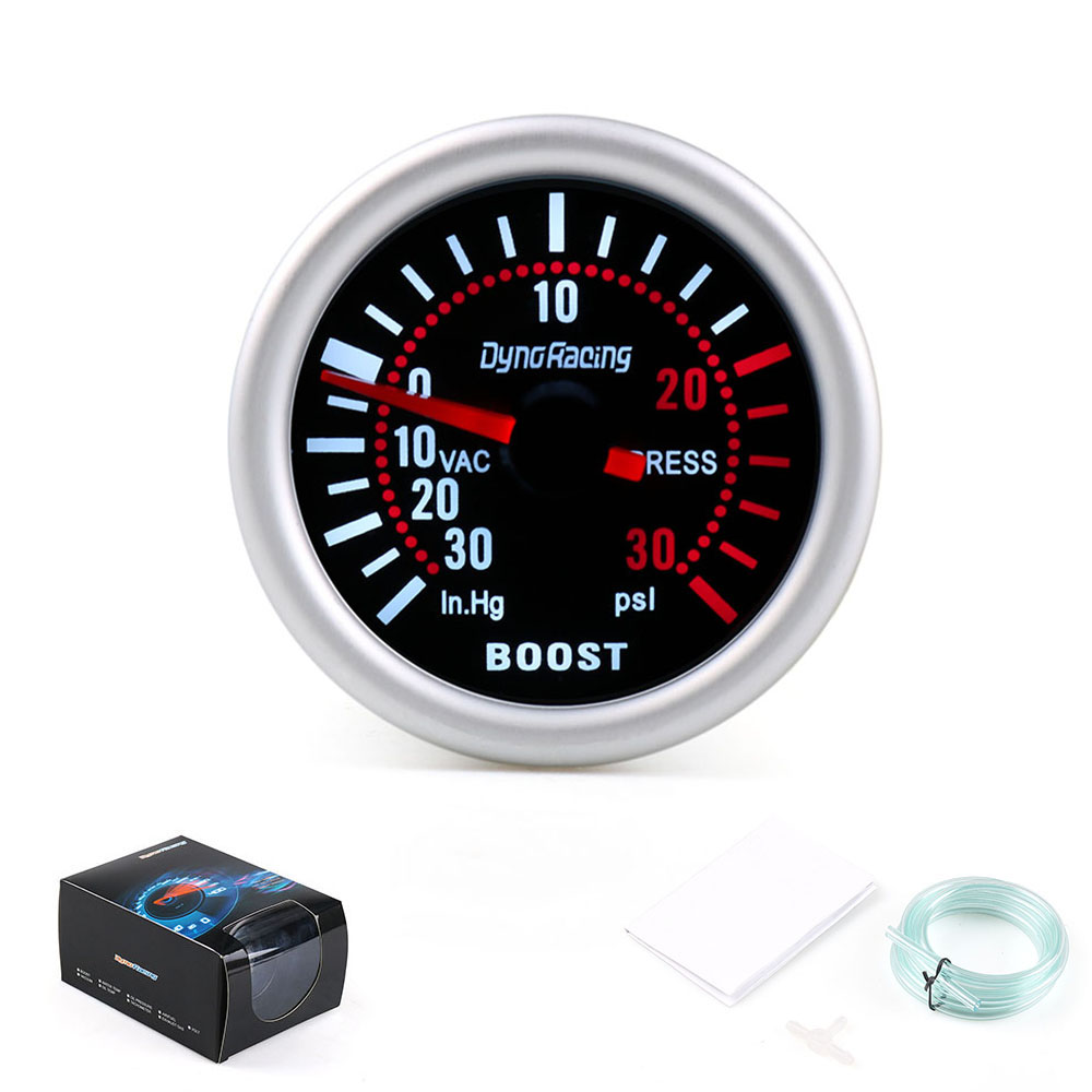 "Dynoracing 2"" 52mm Universal 12V LED Smoke Len 0~30Psi Turbo Boost Gauge Meter / Turbo Boost Meter TT101309(China)"
