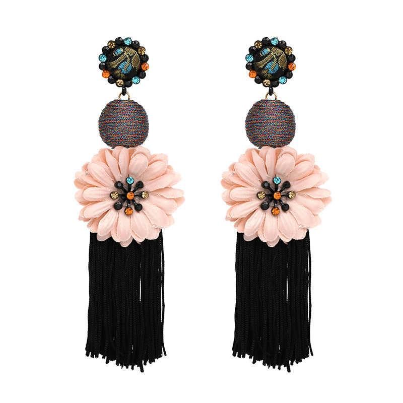 2019 New Fashion Ethnic Tassel Drop Dangle Earrings Flower Statement Big Long Earrings For Women Jewelry Fringing Pendientes