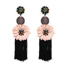 2018 New Fashion Ethnic Tassel Drop Dangle Earrings flower Statement Big Long Earrings for Women Jewelry Fringing Pendientes