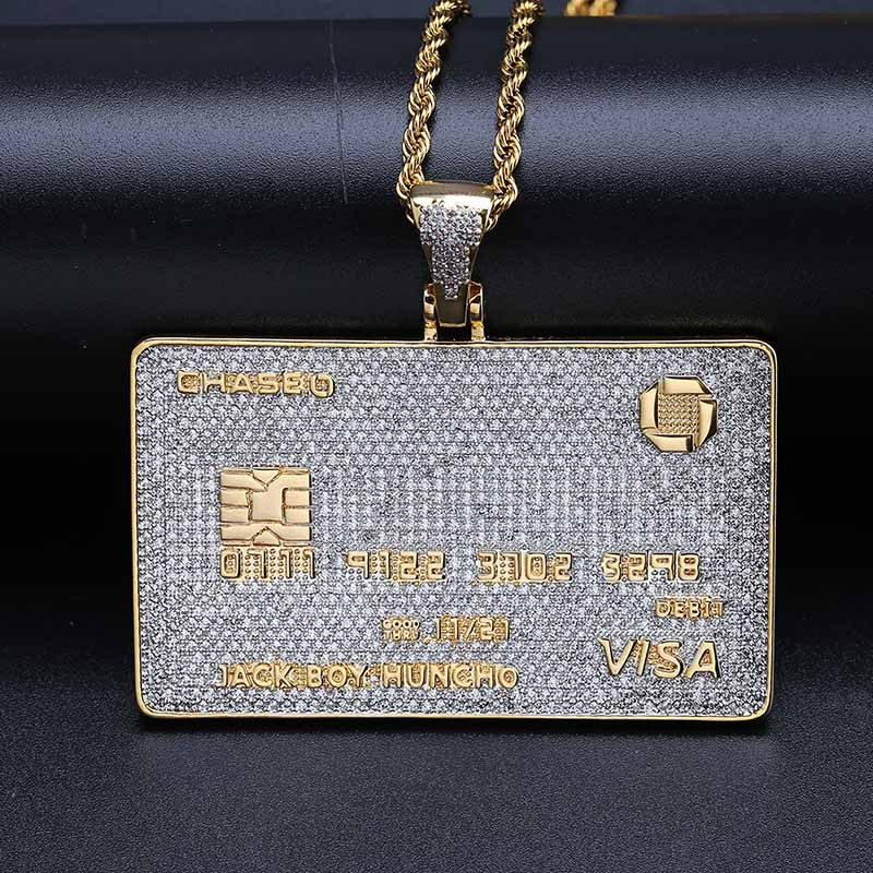 Image 2 - Full Iced Out Credit Card Pendant Necklace Mens Gold Silver Color Hip Hop Jewelry With Tennis Chain Charm CZ Jewelry Gifts-in Pendant Necklaces from Jewelry & Accessories