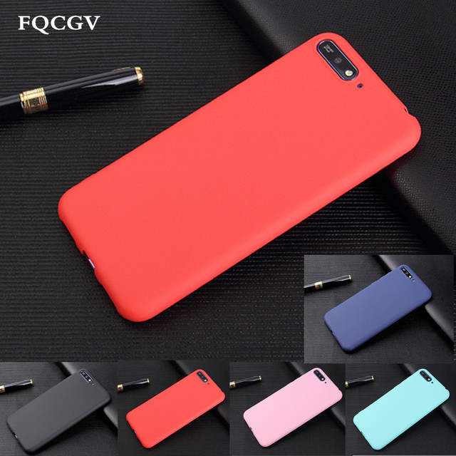 sports shoes 209a9 051b2 US $0.61 32% OFF|Cover For Huawei Honor 7S 360 Protection Soft Silicone  Matte Case For Huawei P smart Y5 Y6 Y7 2018 Prime 2018 Candy Case Fundas-in  ...