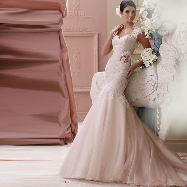 f4ccc048e9999 Sparkle sexy mermaid wedding dresses 2015 organza wedding dress pink short  sleeve Bridal Gown with flowers