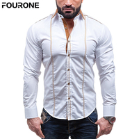 Men Spring Autumn Features Shirt Turn Down Collar Long Sleeve Shirt M 4XL White For Party