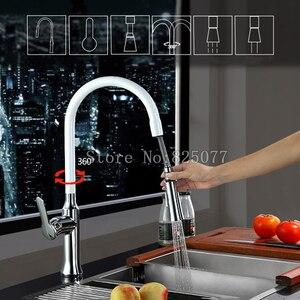 Image 5 - _ 360 Поворотный смеситель с одной ручкой, смеситель для раковины, выдвижной кухонный смеситель, черный и белый, 4 цвета на выбор KF933