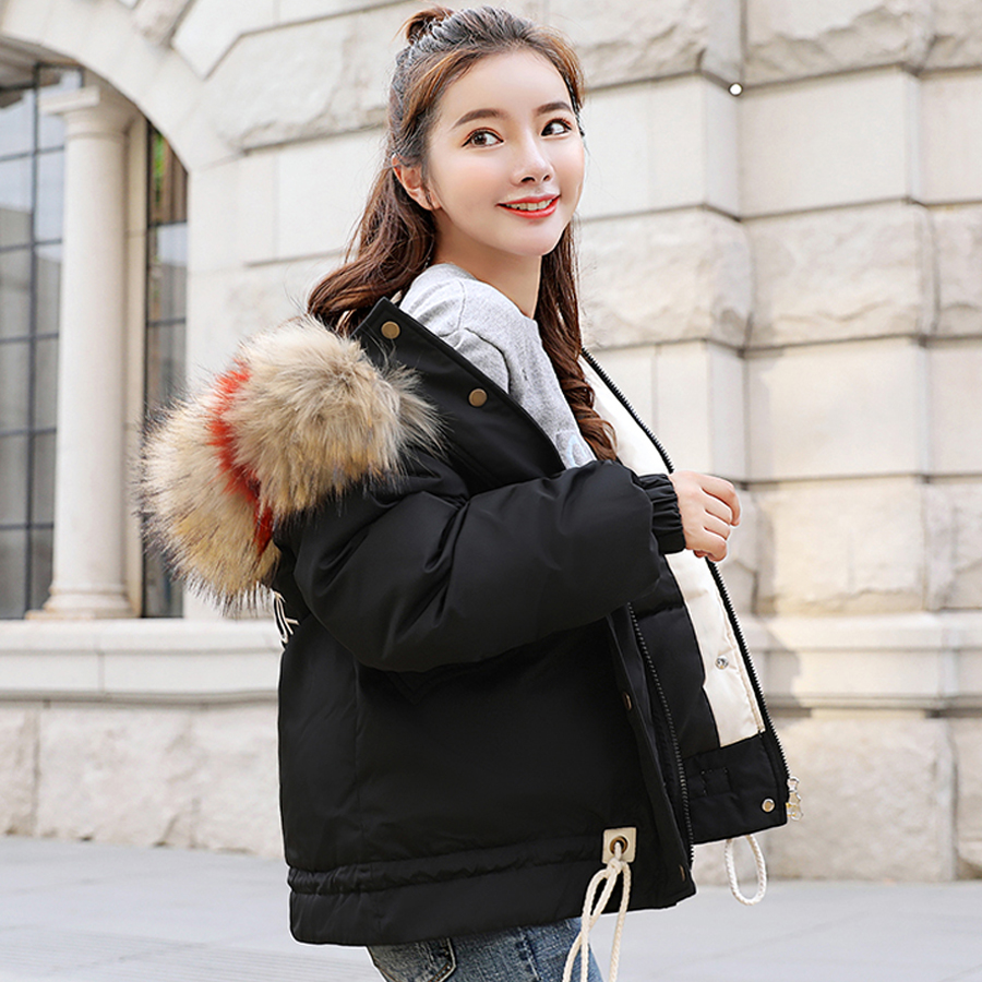 abrigos mujer invierno 2019 coat women winter large fur collar cotton padded jacket women   parka   thick warm outwear