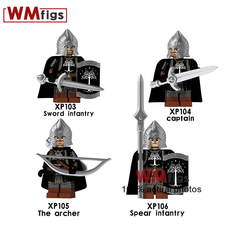 Blocks Toys & Hobbies 4pcs/lot Lord Of The Rings Legoings Medieval Castle Knight Shield Helmet Armor Weapon Sword Spear Infantry Building Blocks Toys Easy And Simple To Handle
