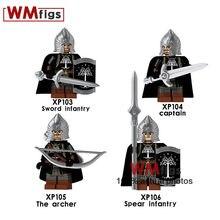 1a5a8ee7fa97 4 unids lote de El Señor de los anillos Legoings Castillo Medieval Caballero  escudo casco armadura arma espada lanza infantería .