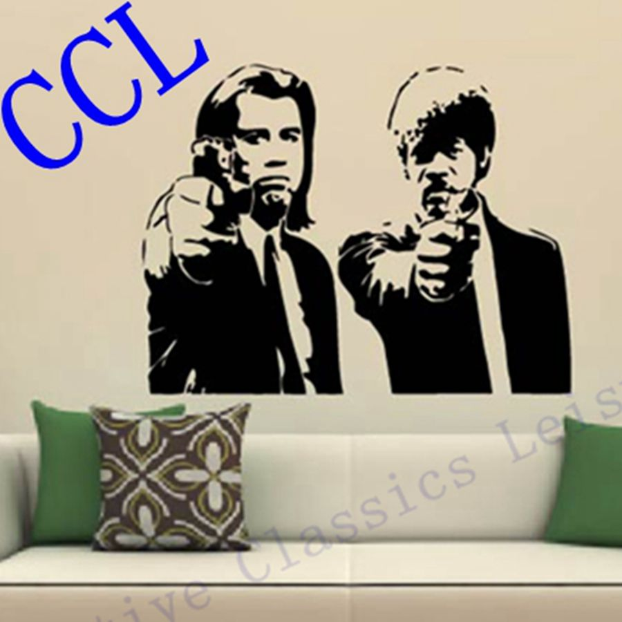 Banksy Jules and Vincent Pulp Fiction Vinyl Wall Decal Wall Sticker Mural Wallpaper Wall Art Home Decoration-in Wall Stickers from Home u0026 Garden on ...  sc 1 st  AliExpress.com : art decal wall stickers - www.pureclipart.com