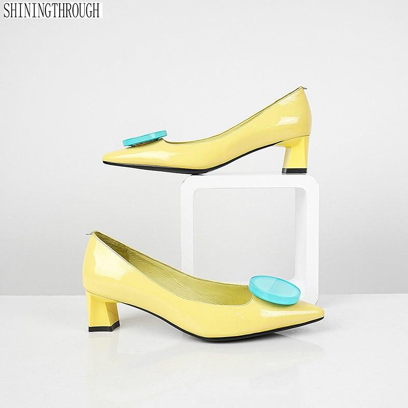 2019 cuero genuino básicos de las mujeres zapatos de tacón alto puntiagudo dedo del pie zapatos de verano vestido de Mujer Zapatos-in Zapatos de tacón de mujer from zapatos    1
