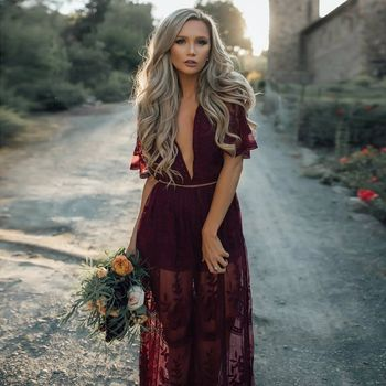 Women Long Maxi Dress Deep V Neck Short Sleeve Embroidery See Through Lace Split Dresses Prom Gown Vestidos