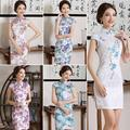 2017 Spring Chinese Traditional Dress Solid Cotton Short Sleeve Retro Cheongsam Vintage Qipao Slim Evening Party