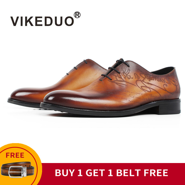 [Buy 1 Get 1 Belt Free] VIKEDUO Patina Leather Dress Shoes Men Engraving Wedding Office Handmade Mans Footwear New Zapato Hombre