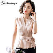 Dushicolorful Women vest Fashion elgent waistcoat Slim 2019 summer bow Vest Female Sleeveless Waistcoat office lady top plus siz