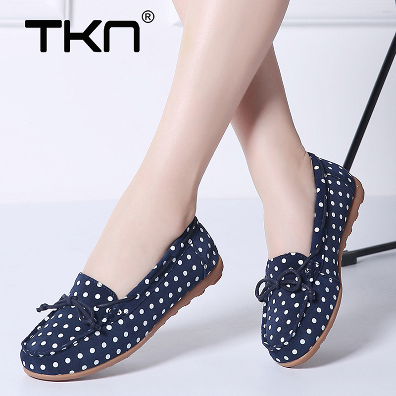 TKN 2019 Winter Women Ballet Flats Shoes Dots Design   Leather     Suede   Slip on Ballerina Shoes Footwear Women Loafers Moccasins 001