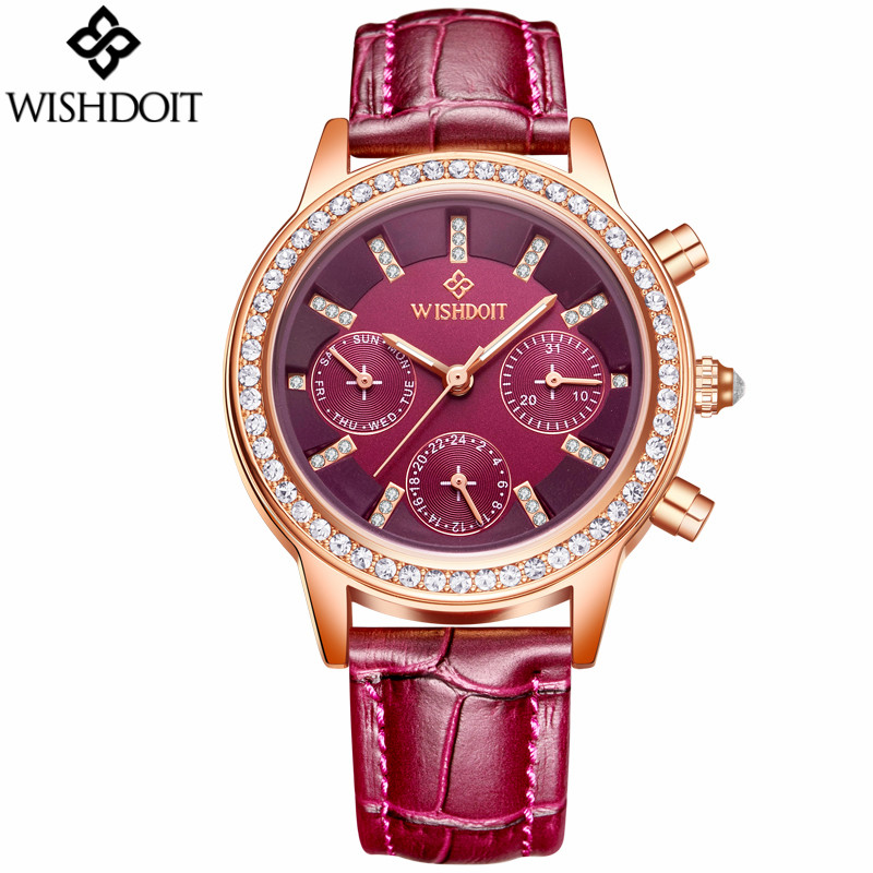 Top Brand Women Rhinestone Dress Watches Luxury Women's Casual Quartz Watch Female Leather Strap Wristwatch relogio feminino luxury top brand guanqin watches fashion women rhinestone vintage wristwatch lady leather quartz watch female dress clock hours