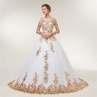 Fansmile Long Sleeve Golden Lace Vestido De Noiva Wedding Dresses 2018 Train Custom-made Plus Size Bridal Wedding Gowns FSM-404T 1